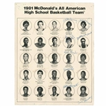 1981 McDONALDS ALL-AMERICAN HIGH SCHOOL BASKETBALL TEAM ROSTER SHEET SIGNED BY MICHAEL JORDAN (AGE 18 AUTO.), CHRIS MULLIN & OTHER FUTURE NBA PLAYERS - ONLY KNOWN EXAMPLE!