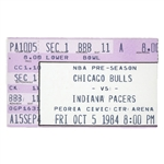 10/5/1984 MICHAEL JORDAN NBA PRESEASON DEBUT TICKET STUB - 1ST GAME IN BULLS UNIFORM!