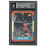 1986-87 FLEER BASKETBALL COMPLETE SET OF 132 (#57 MICHAEL JORDAN BGS NM-MT+ 8.5) PLUS All 11 FLEER STICKERS (#8 JORDAN BGS EX-MT+ 6.5)