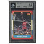 1986-87 FLEER BASKETBALL COMPLETE SET OF 132 (#57 MICHAEL JORDAN BGS NM-MT+ 8.5) PLUS FULL SET OF 11 FLEER STICKERS (#8 JORDAN BGS EX-MT 6)