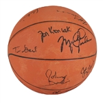 FINEST KNOWN 1984 U.S. MENS BASKETBALL OLYMPIC CHAMPIONS TEAM SIGNED BALL WITH STUNNING, PRE-ROOKIE MICHAEL JORDAN AUTO. PLUS EWING, MULLIN, ETC. - SOURCED FROM USA VS. INDIANA ALUMNI GAME