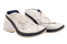 1999-00 REGGIE MILLER GAME WORN & DUAL-SIGNED AIR JORDAN TEAM J PLAYER EXCLUSIVE SHOES (KNICKS BALL BOY COLLECTION)