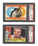 ROGER MARIS (N.Y. YANKEES) SIGNED PAIR OF 1960 TOPPS #377 AND #565 ALL-STAR CARDS (BOTH PSA/DNA AUTH.)