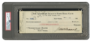 9/1/1925 BABE RUTH AUTOGRAPHED NEW YORK YANKEES PAYROLL CHECK ALSO SIGNED BY RUPPERT & BARROW (PSA/DNA NM-MT 8)