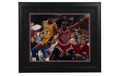 MICHAEL JORDAN AND MAGIC JOHNSON DUAL-SIGNED 1991 NBA FINALS 16x20 PHOTO - LE #59/100 (UDA)