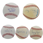 LOS ANGELES LAKERS LEGENDS LOT OF (5) SINGLE SIGNED BASEBALLS INCL. MIKAN, WEST, KAREEM, MAGIC & SHAQ