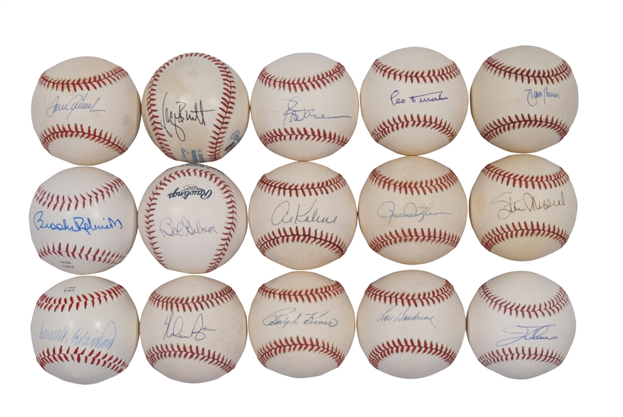 HALL OF FAMERS LOT OF (15) SINGLE SIGNED BASEBALLS