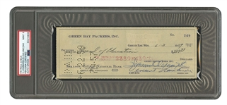 6/3/1959 VINCE LOMBARDI AUTOGRAPHED GREEN BAY PACKERS BANK CHECK ALSO SIGNED BY TEAM PRESIDENT (PSA/DNA MINT 9)