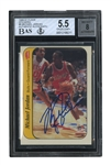 1986-87 FLEER STICKER #8 MICHAEL JORDAN AUTOGRAPHED ROOKIE - BGS EX+ 5.5 [NM 7 AVG.] & BAS NM-MT 8 (TIM GALLAGHER COLLECTION)