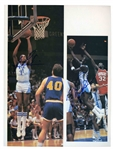 MICHAEL JORDAN AND SAM PERKINS DUAL-SIGNED C. 1983 UNC TAR HEELS BASKETBALL MEDIA GUIDE PHOTO - BECKETT AUTH. (TIM GALLAGHER COLLECTION)