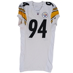 2011 LAWRENCE TIMMONS PITTSBURGH STEELERS GAME WORN JERSEY POUNDED & PHOTO-MATCHED TO 1/8/2012 AFC WILD CARD PLAYOFF @ DEN (STEELERS LOA)
