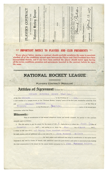 IMPORTANT 1927 CHARLIE GARDINER SIGNED CHICAGO BLACK HAWKS ORIGINAL PLAYERS CONTRACT - NHL LEGEND & HOCKEYS FIRST SUPERSTAR GOALTENDER WHO DIED AT AGE 29! (GRANDSON LOA)