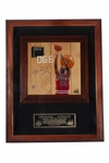"MICHAEL JORDAN AUTOGRAPHED 1998 NBA FINALS GAME USED FLOOR PIECE WITH ""LAST SHOT"" (""06.6"") ORIGINAL ARTWORK - LE #13/23 (UDA COA)"