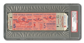 1958 WORLD SERIES (N.Y. YANKEES VS. BRAVES) GAME 5 FULL TICKET FROM NYY TEAM PRESIDENTS BOX - PSA VG 3