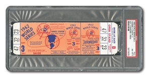 1962 WORLD SERIES (N.Y. YANKEES VS. SF GIANTS) GAME 3 FULL TICKET - PSA NM-MT 8 (NONE HIGHER)