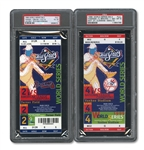 1999 WORLD SERIES (YANKEES SWEPT BRAVES) PAIR OF FULL TICKETS - GAME 2 @ ATL (PSA VG-EX 4) AND GAME 4 @ NYY (PSA NM-MT 8)