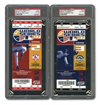 2007 WORLD SERIES (RED SOX SWEPT ROCKIES) PAIR OF FULL TICKETS - GAME 2 @ BOS (PSA GEM-MT 10) AND GAME 3 @ COL (PSA EX-MT 6)