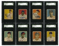 1949 BOWMAN BASEBALL COMPLETE SET OF (240) WITH 8 SGC GRADED ROOKIES INCL. #224 PAIGE (EX+ 5.5) AND #226 SNIDER (EX-NM 6)