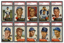 1953 TOPPS BASEBALL COMPLETE SET OF (274) WITH 12 GRADED NOTABLES INCL. #82 MANTLE (SGC 70 EX+ 5.5) AND #244 MAYS (PSA VG-EX 4)