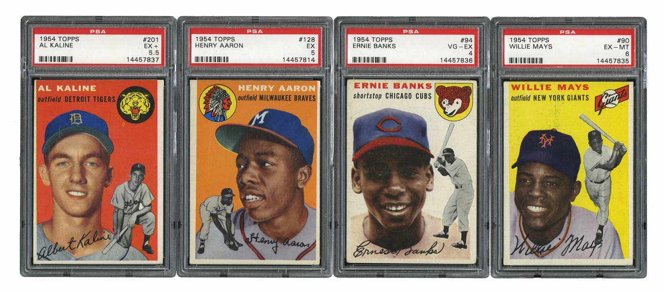 1954 TOPPS BASEBALL COMPLETE SET OF (250) WITH 3 KEY ROOKIES PSA GRADED INCL. #128 AARON (EX 5)