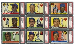 1955 TOPPS BASEBALL COMPLETE SET OF (206) WITH 12 PSA GRADED NOTABLES INCL. #164 CLEMENTE ROOKIE (PSA EX 5)