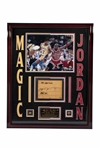 MICHAEL JORDAN AND MAGIC JOHNSON DUAL-SIGNED 1991 NBA FINALS FLOOR PIECE FROM JORDANS 1ST TITLE - LE #14/23 (UDA)