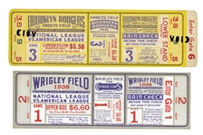 PAIR OF 1938 WORLD SERIES GAME 1 (NYY @ CUBS) AND 1941 WORLD SERIES GAME 3 (NYY AT DODGERS) FULL TICKETS - BOTH SERIES WON BY YANKEES