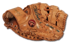 "1982 STEVE GARVEY GAME USED & SIGNED RAWLINGS FIRST BASEMANS MITT INSCRIBED ""LAST GLOVE"" - FINAL SEASON WITH L.A. DODGERS (GARVEY LOA)"
