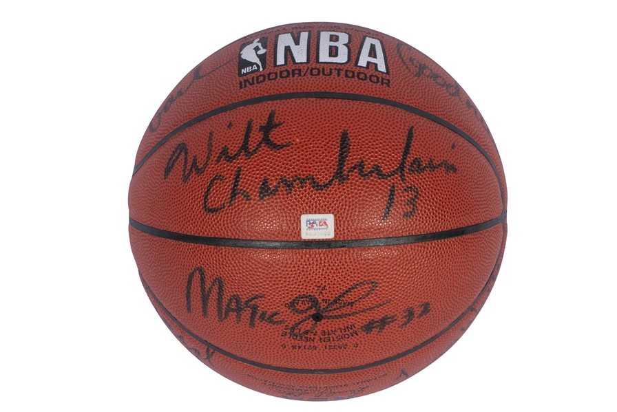 SPECTACULAR LOS ANGELES LAKERS LEGENDS MULTI-SIGNED OFFICIAL NBA BASKETBALL INCL. KOBE, WILT, KAREEM, BAYLOR, WEST, MAGIC, WORTHY, SHAQ, GOODRICH & WILKES - ONLY SUCH EXAMPLE KNOWN!