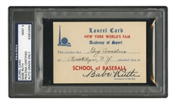 1939 BABE RUTH AUTOGRAPHED NEW YORK WORLDS FAIR LAUREL CARD - PSA/DNA MINT 9