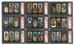 1971-72 TOPPS BASKETBALL STICKER TRIOS PSA GRADED COMPLETE SET WITH #43 CHAMBERLAIN PSA MINT 9 (NONE HIGHER)
