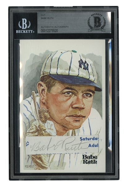 BABE RUTH CUT SIGNATURE UNIQUELY DISPLAYED ON 1980 PEREZ-STEELE ART POSTCARD - BECKETT AUTHENTIC