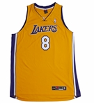 KOBE BRYANT AUTOGRAPHED LOS ANGELES LAKERS #8 HOME JERSEY (UNFRAMED)