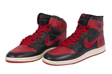MICHAEL JORDAN DUAL-SIGNED PAIR OF 1985 NIKE AIR JORDAN I OG SNEAKERS - THE ORIGINAL AJ1 RED/BLACK SHOES BANNED BY NBA FOR COLOR VIOLATIONS! (PRO ATHLETE PROVENANCE)