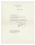 MAY 16, 1962 PRESIDENT JOHN F. KENNEDY TYPED SIGNED LETTER OF CONDOLENCES TO CONGRESSMAN KEN HECHLER