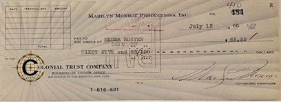 7/15/1960 MARILYN MONROE SIGNED BANK CHECK - BECKETT AUTHENTIC