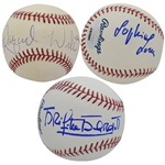 1950S-60S SEX SYMBOLS SOPHIA LOREN, BRIGITTE BARDOT & RAQUEL WELCH TRIO OF SINGLE SIGNED BASEBALLS
