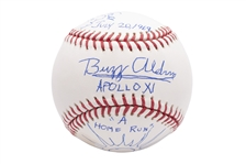 "BUZZ ALDRIN AND ROBERT McCALL SIGNED OML (SELIG) BASEBALL WITH ILLUSTRATIONS & INCREDIBLE INSCRIPTIONS (""APOLLO XI - JULY 20, 1969 - A HOME RUN"")"