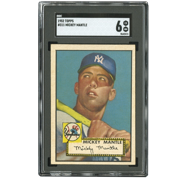 1952 TOPPS #311 MICKEY MANTLE SGC EX-NM 6