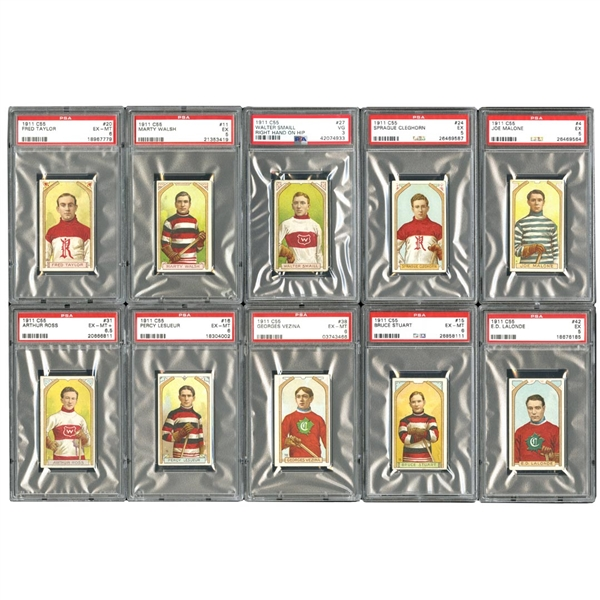 1911-12 C55 IMPERIAL TOBACCO HOCKEY PSA GRADED (46 CARD) COMPLETE SET RANKED #7 ON PSA REGISTRY INCL. #38 GEORGES VEZINA - PSA EX-MT 6
