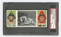1912 T202 HASSAN TRI FOLDER TY COBB/C. OLEARY DESPERATE SLIDE FOR 3RD - PSA NM 7
