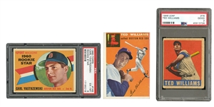 1948 LEAF #76 TED WILLIAMS (PSA GD 2),1954 TOPPS #1 T. WILLIAMS, AND 1960 TOPPS #148 CARL YASTRZEMSKI RC (PSA EX-MT 6)