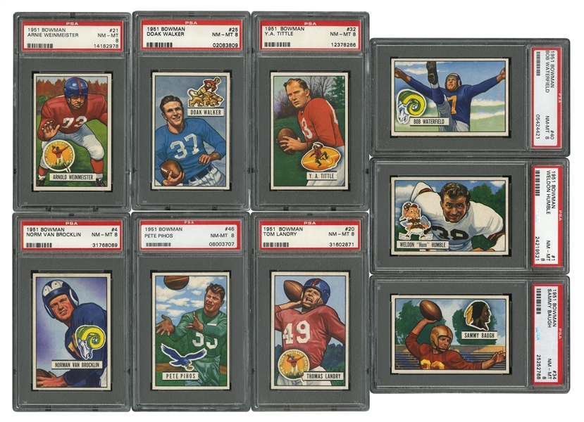 1951 BOWMAN FOOTBALL COMPLETE SET OF (144) - ALL PSA NM 8 OR HIGHER - RANKS #4 ON PSA REGISTRY