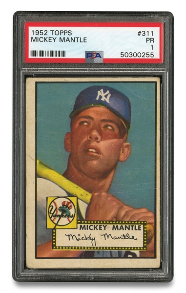 1952 TOPPS #311 MICKEY MANTLE ROOKIE CARD - PSA PR 1