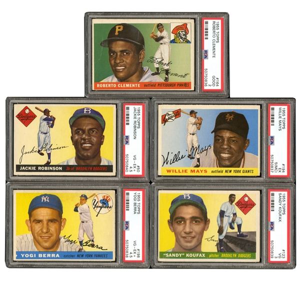 1955 TOPPS BASEBALL COMPLETE SET W/SEVERAL AUTOGRAPHED COMMONS AND (5) GRADED CARDS INCL. #50 JACKIE ROBINSON PSA VG-EX+ 4.5