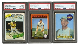 LOT OF (14) ROOKIE BASEBALL CARDS INCL. BENCH, MUNSON, YAZ, BRETT, PLUS PSA GRADED REGGIE JACKSON GOOD 2. ROBIN YOUNT NM 7, RICKEY HENDERSON NM-MT 8