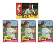 GROUP OF (4) FR - GOOD TOPPS MICKEY MANTLES INCL. (3) 1965 #350 AND (1) 1960 #350