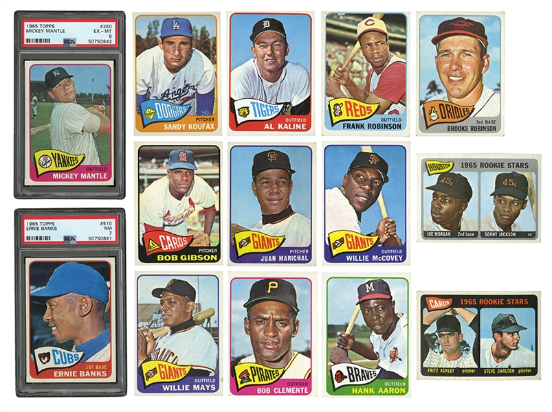 1965 TOPPS BASEBALL COMPLETE SET INCL. GRADED #350 MICKEY MANTLE PSA EX-MT 6 & #510 ERNIE BANKS PSA NM 7