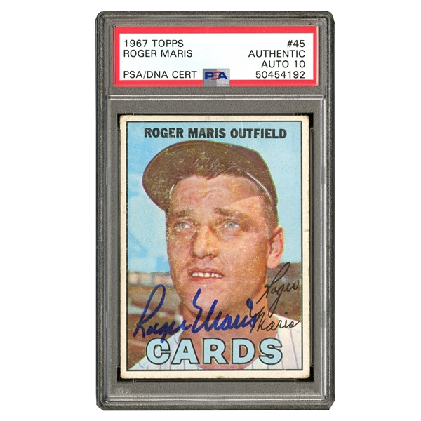 SIGNED 1967 TOPPS #45 ROGER MARIS CARD - PSA AUTO 10