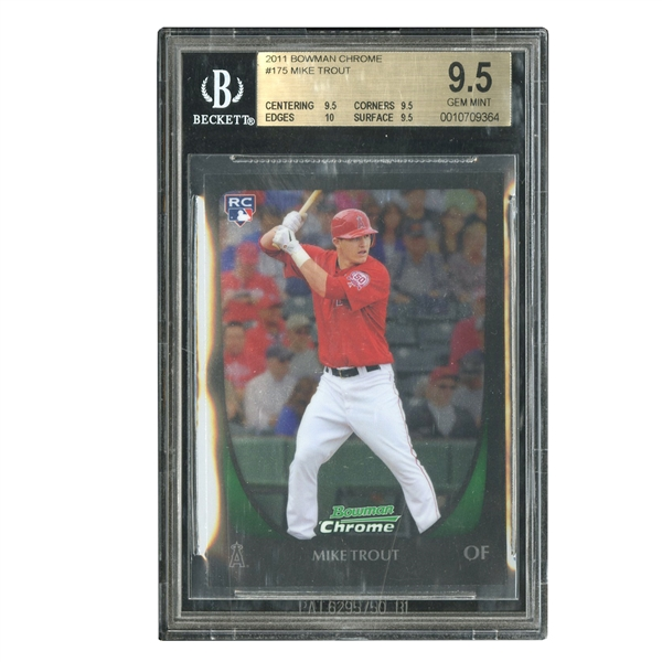 2011 BOWMAN CHROME #175 MIKE TROUT - BGS GEM MINT 9.5